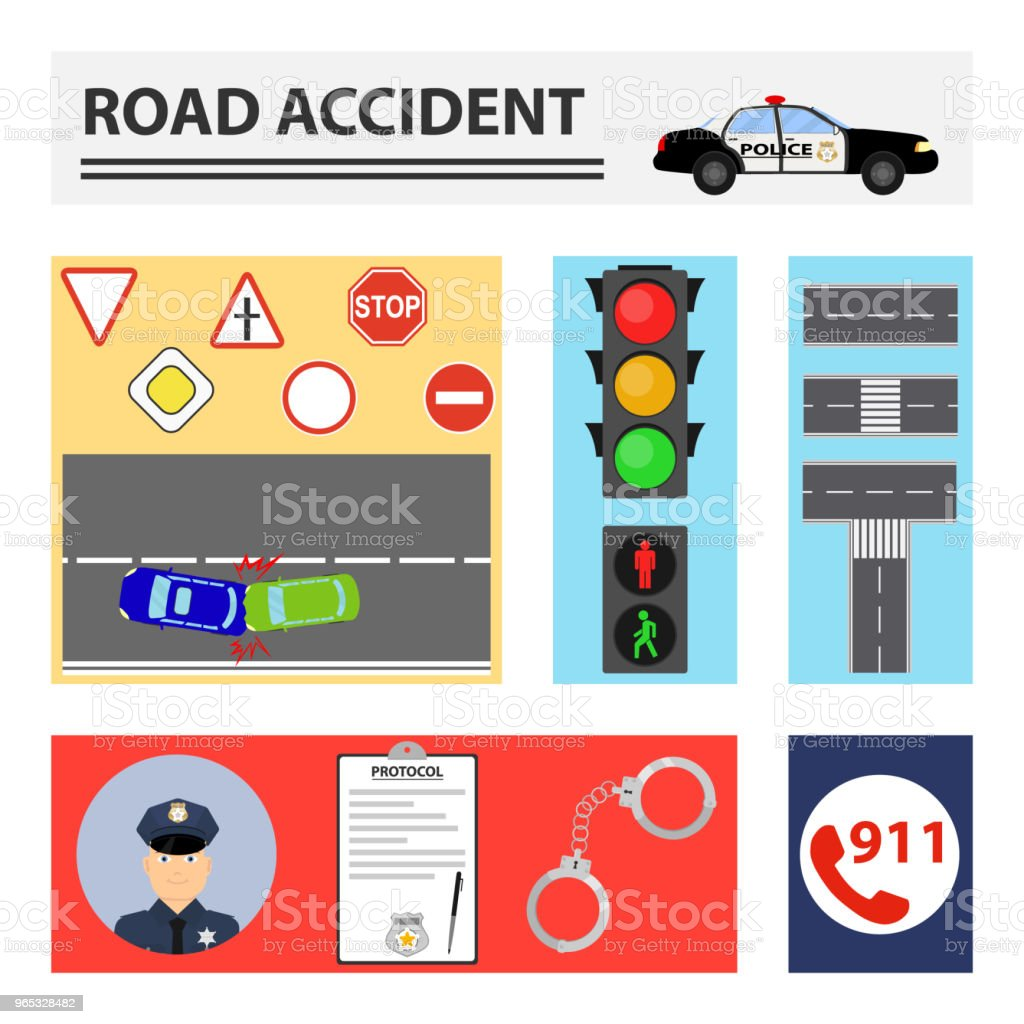 Road accident. The concept of rectangles with elements of road accidents. royalty-free road accident the concept of rectangles with elements of road accidents stock vector art & more images of no people