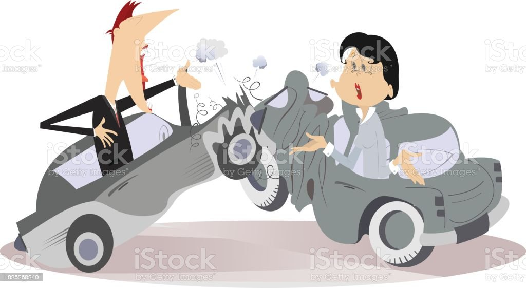 Road accident, young man and woman vector art illustration