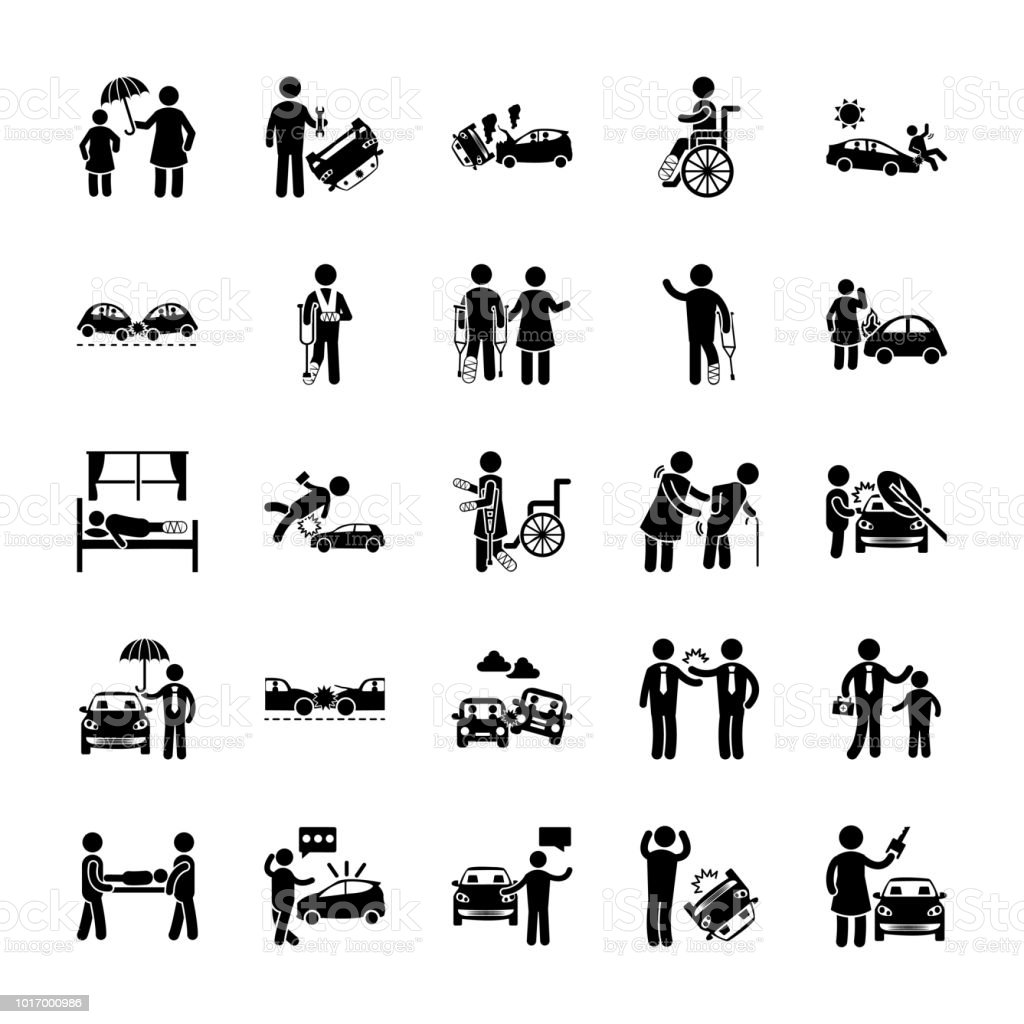 Road Accidents Glyph Icons vector art illustration