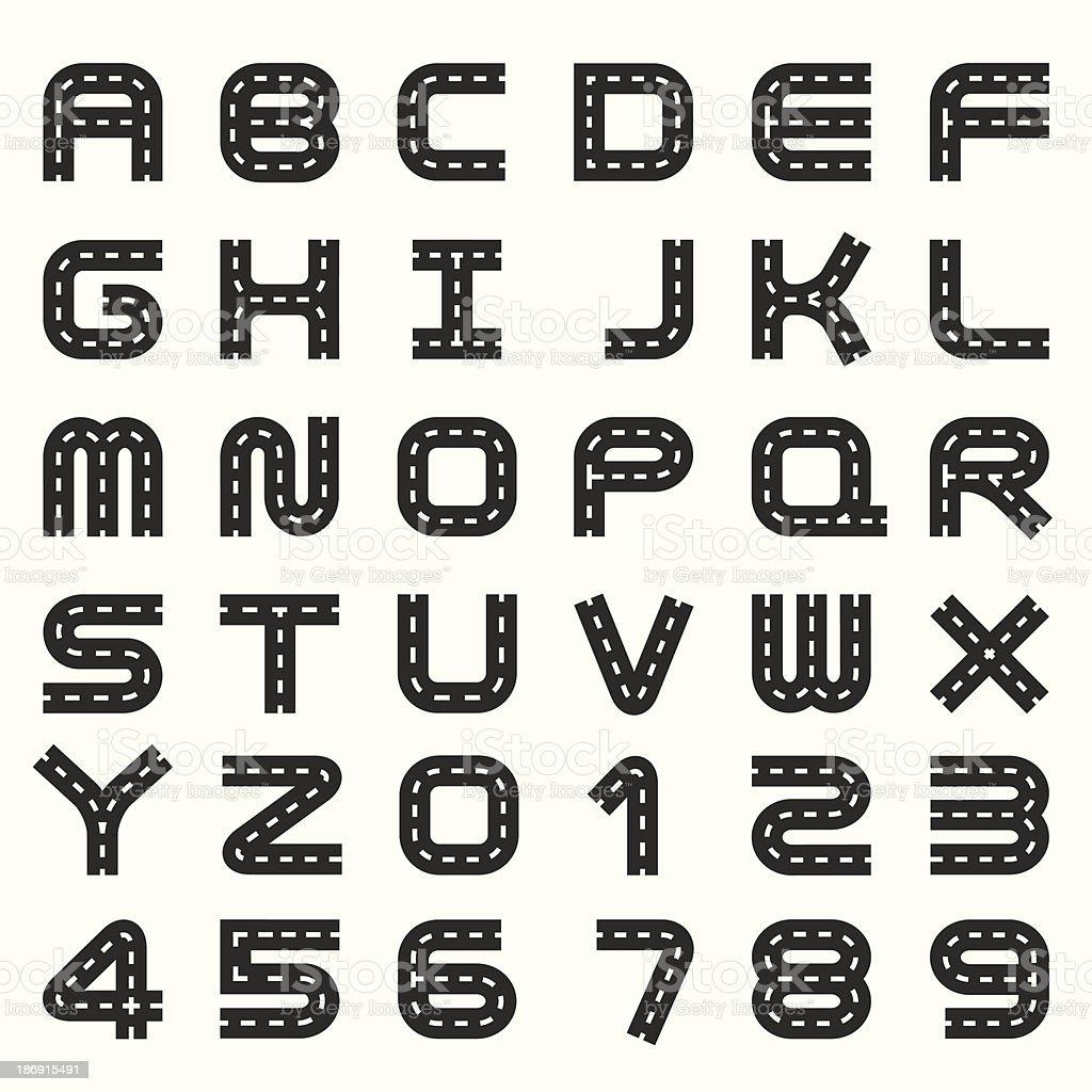 road alphabet set vector art illustration