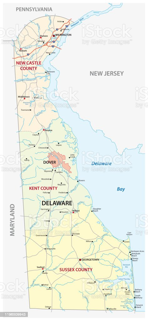 Road And Administrative Map Of The Us American State Of Delaware Stock Illustration Download Image Now Istock