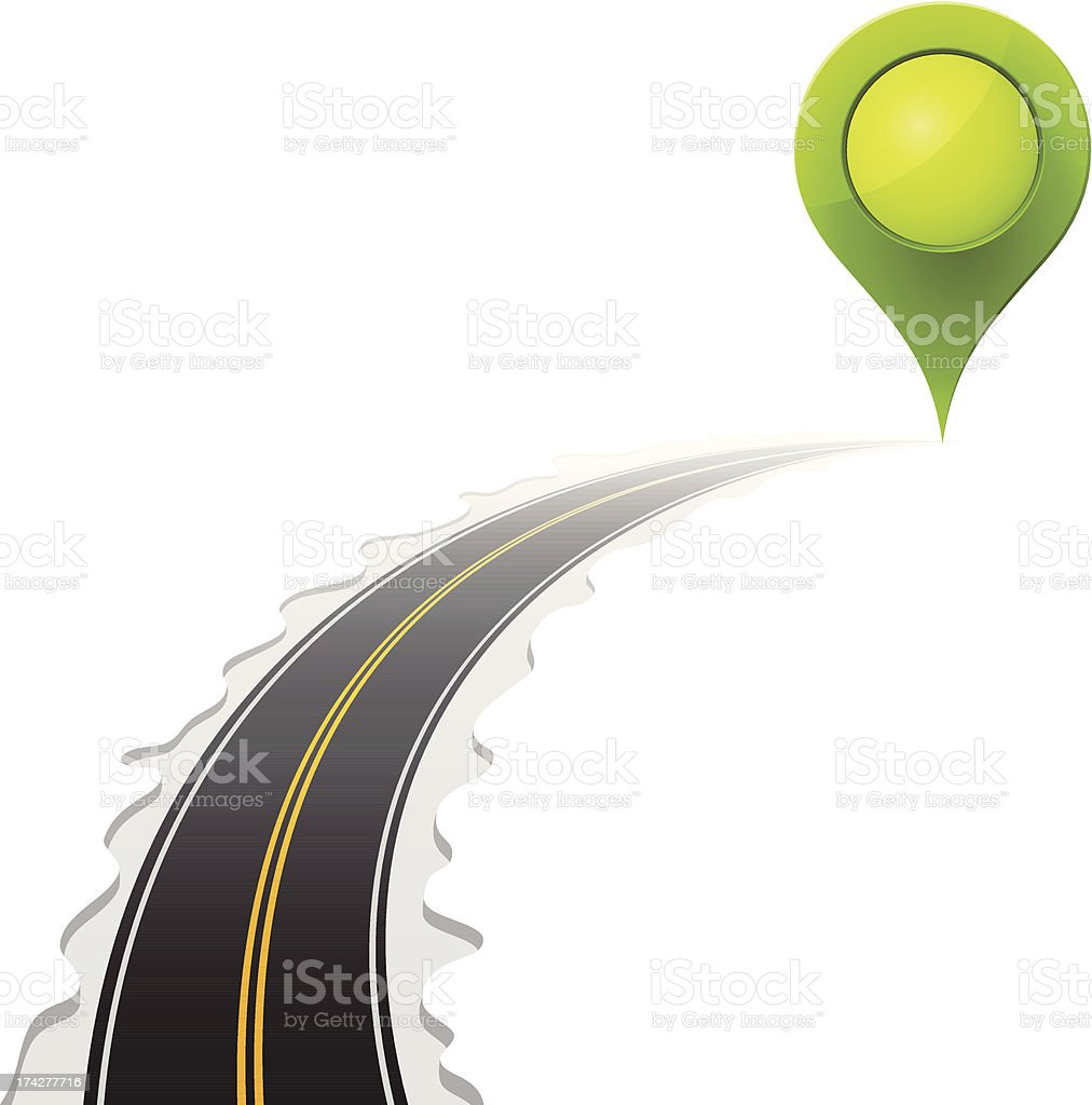 Road and Green Map Pointer royalty-free stock vector art