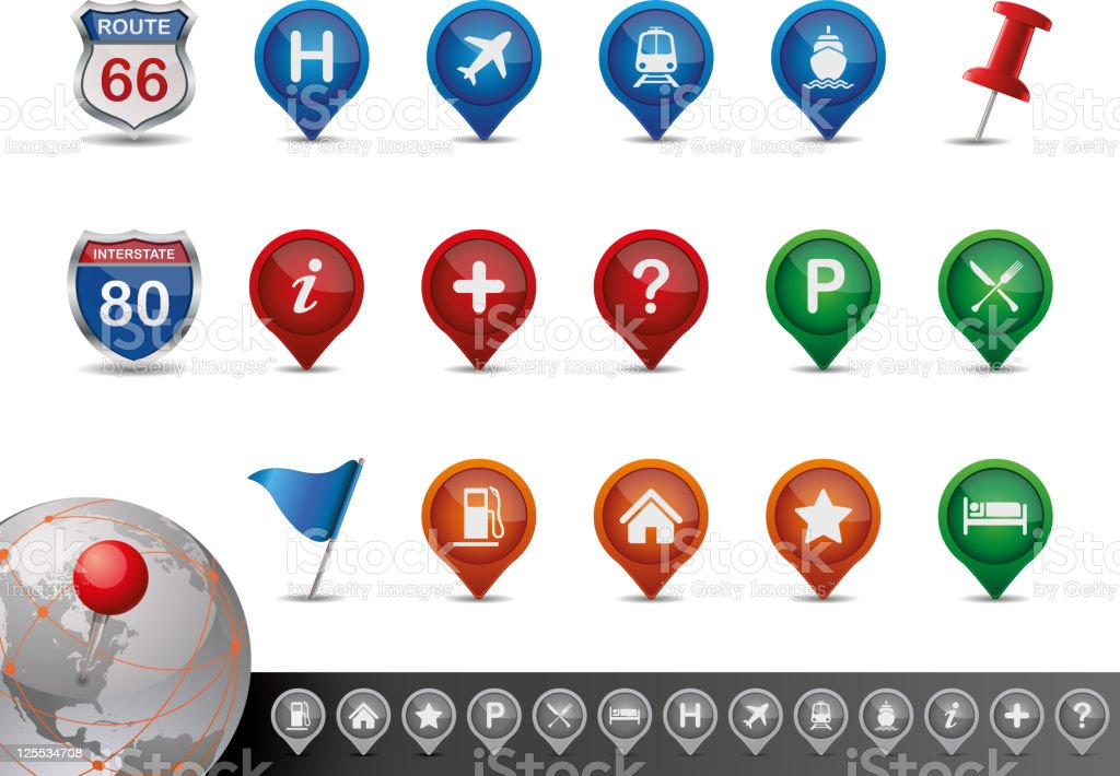 Road and MAP Icon Set. Vector Illustration.