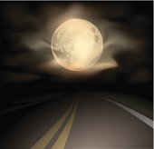 Road and moon