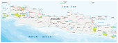 Road and national park map of the Indonesian island java