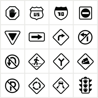 Road signs/symbols. All white strokes and shapes are cut from the icons and merged.