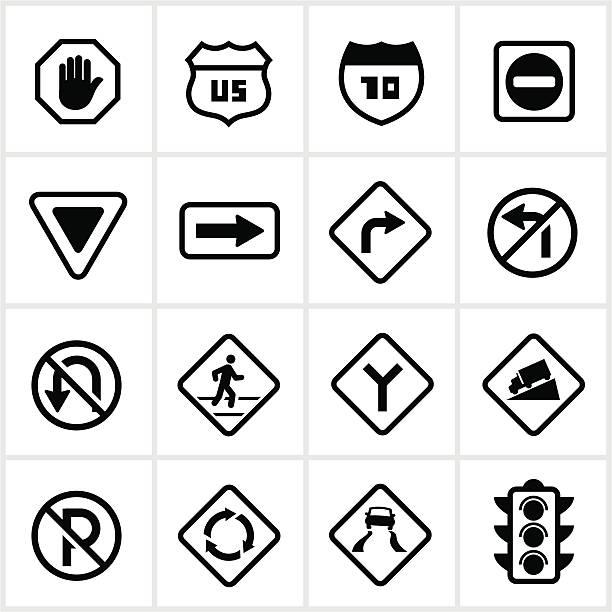 Road y señales de peatones - ilustración de arte vectorial