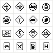 Road sign symbols/icons. All white strokes and shapes are cut from the icons and merged.