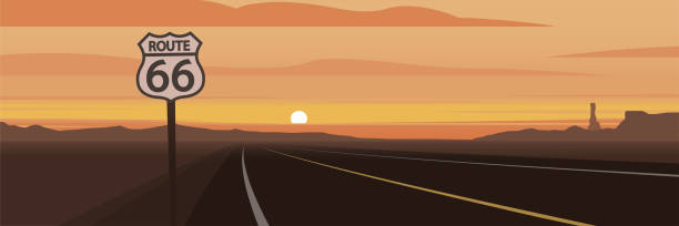 Road and Route 66 Sign and Sunset Scene Road and Route 66 Sign and Sunset Scene driveway stock illustrations