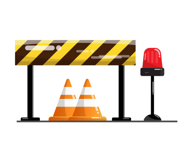 road and street barrier, traffic warning sign vector art illustration