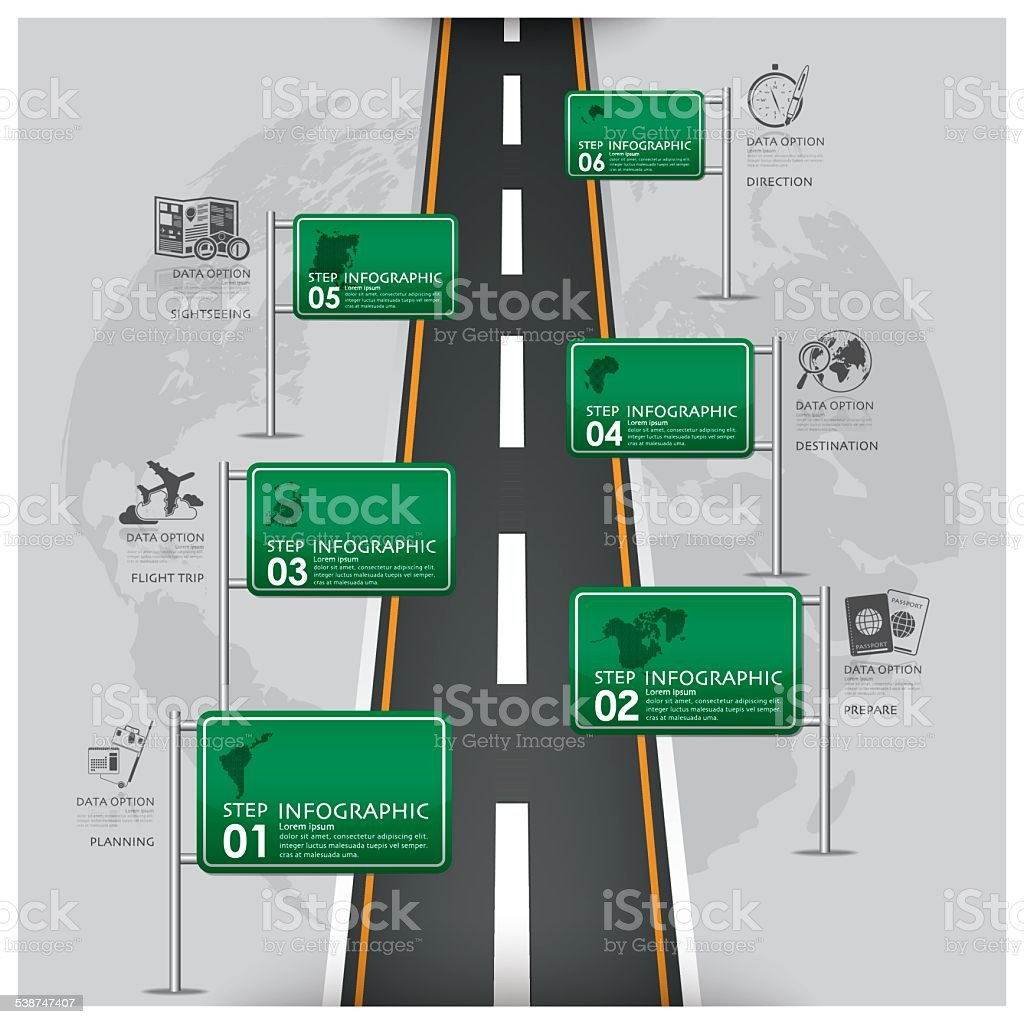 Road And Street Traffic Sign Business Travel Infographic vector art illustration