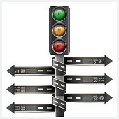 Road And Street With Traffic Light Sign Infographic Diagram
