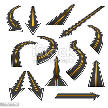 Road arrow set. Arrow roads with yellow markings, an illustrations  in a form of various turns, directions, perspectives and trends. Nice road pointer themed vector design elements isolated on white.