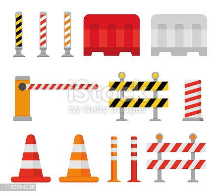 Road barrier and street barriers set. Vector illustration