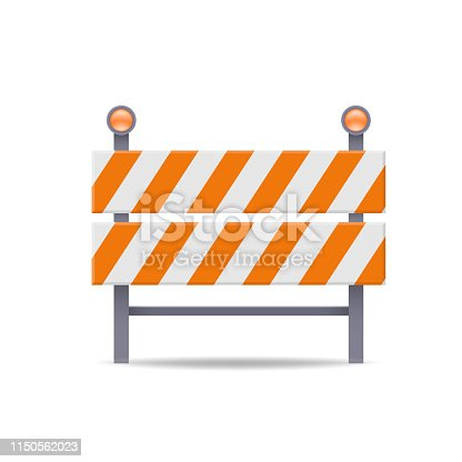 road barrier flat vector icon against white