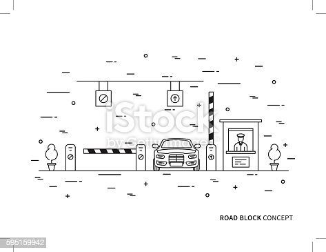 Road checkpoint station (pay-gate, tourniquet) linear vector illustration. Road barrier stop gate creative graphic concept. Road traffic security entrance graphic design.