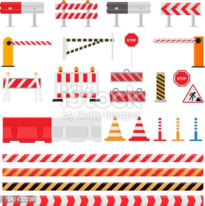 Road barrier vector street traffic-barrier warning and barricade blocks on highway illustration set of roadblock detour and blocked roadwork barrier isolated on white background.