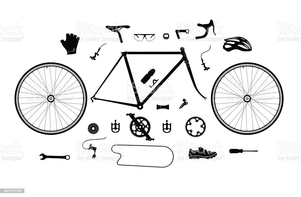 Road bicycle parts and accessories silhouette set, elements for infographic vector art illustration