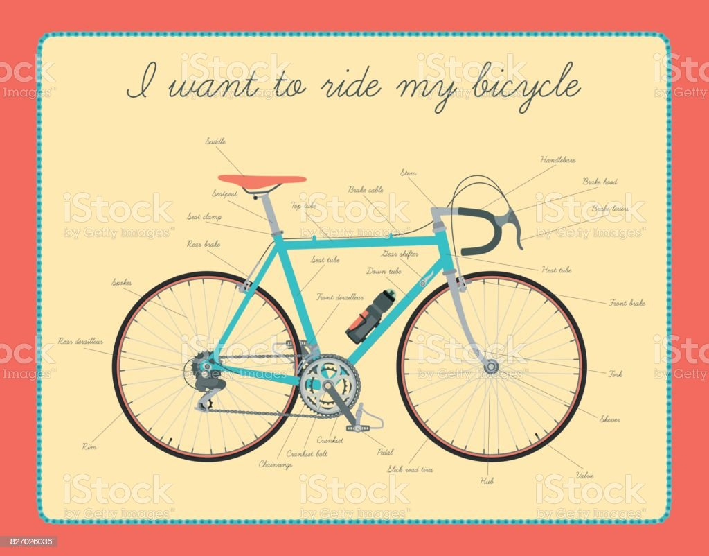 Road bicycle with text. vector art illustration