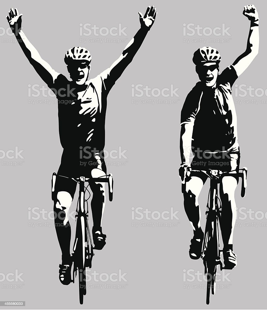 Road bike cyclists winning the race royalty-free stock vector art