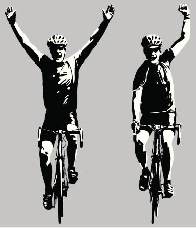 Road bike cyclists winning the race