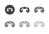 Road Bike Handlebar Icons Multi Series Vector EPS File.