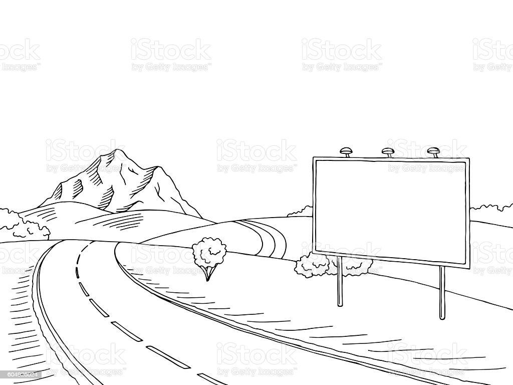 Vetores De Road Billboard Graphic Art Black White Landscape Sketch Illustration Vector E Mais Imagens De Arbusto Istock