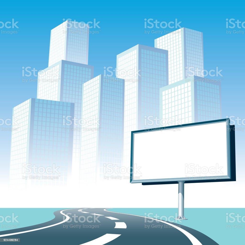 Road billboard vector art illustration
