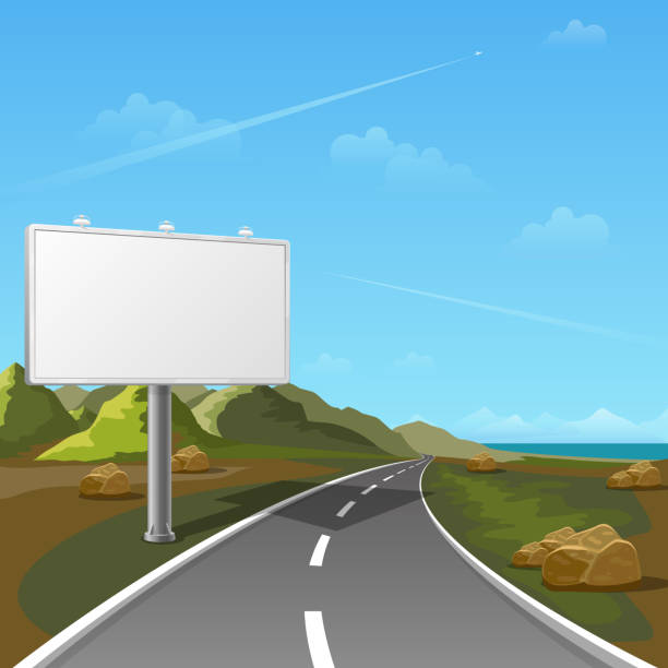 Route de panneau d'affichage avec fond de paysage - Illustration vectorielle