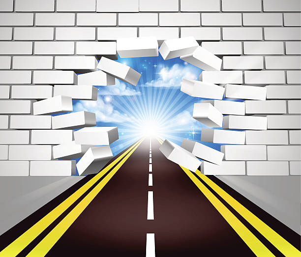 Road Breaking Wall Concept vector art illustration