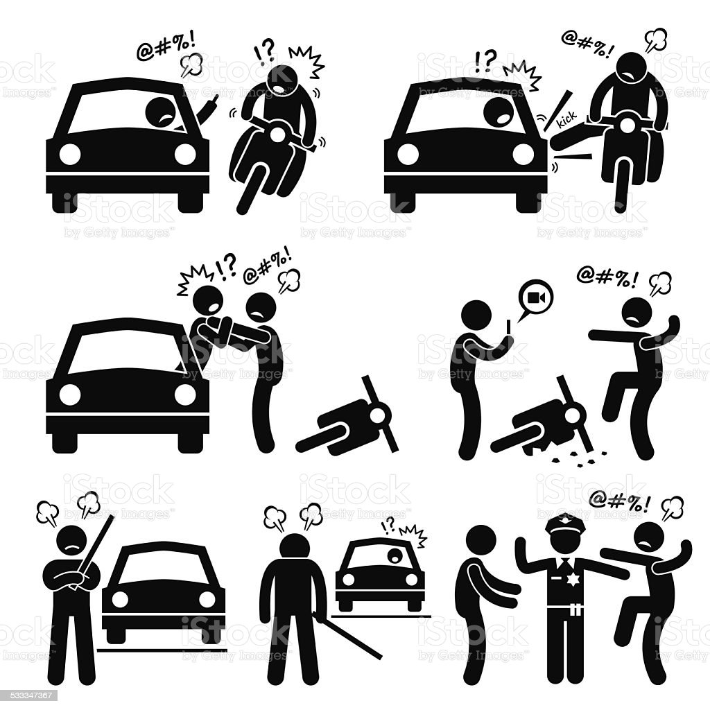 Road Bully Driver Rage Stick Figure Pictogram Icons vector art illustration