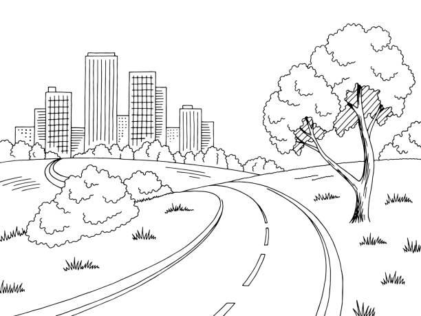 道路都市グラフィックの黒白い都市景観スケッチ イラスト - 都市 モノクロ点のイラスト素材/クリップアート素材/マンガ素材/アイコン素材