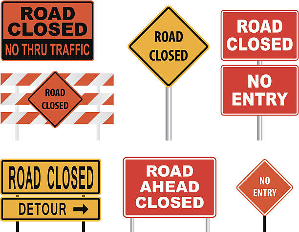 Road Closed Sign Vector of road closed sign. middle of the road stock illustrations