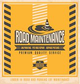Road construction and maintenance vintage poster design