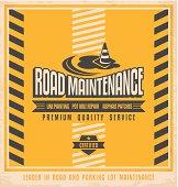 Road construction and maintenance vintage poster design