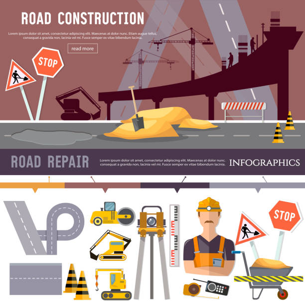 Road construction and road repair collection. Repair is expensive in the city. Industrial bridge works construction and repair elements vector vector art illustration