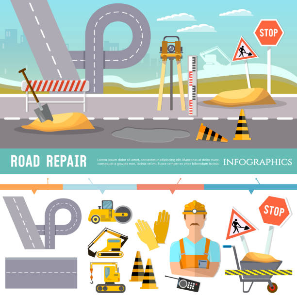 Road construction and road repair infographic. Repair is expensive in the city. Road works construction and repair elements vector art illustration