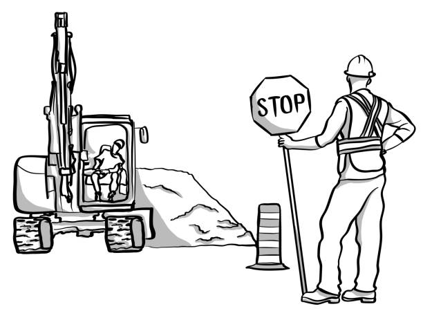 Road Construction Delays vector art illustration