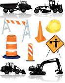 """Tight illustrations of road construction equipment. grader, dump truck, front loader, barrel, hardhat, pylon, cone. Layered for easy edits. Mix and match. Check out my """"Construction Vector"""" light box for more."""