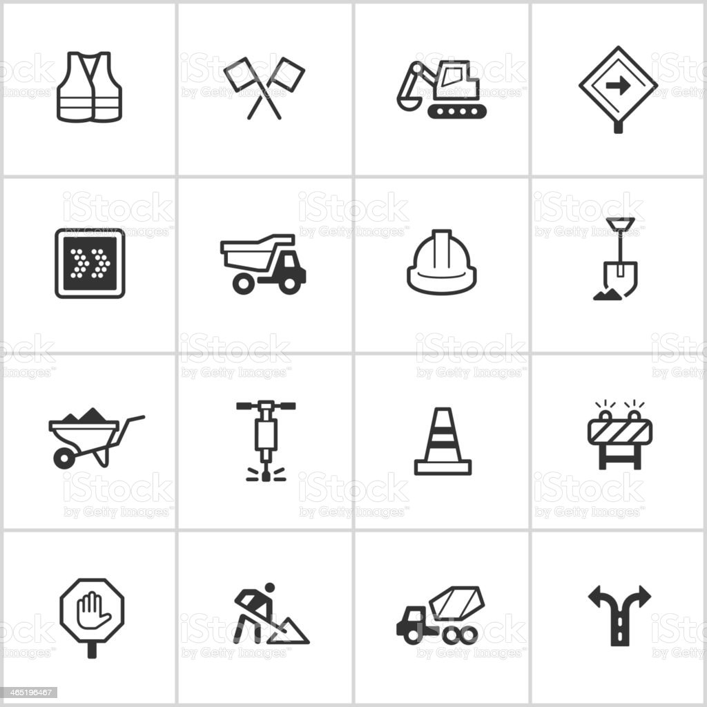 Road Construction Icons — Inky Series vector art illustration