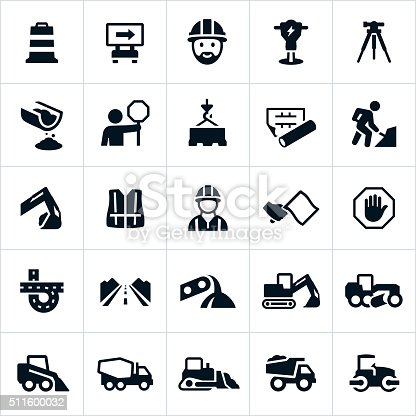 A set of icons representing the road construction industry. The icons include heavy machinery used to build roadways, the workers and engineers who design and construct them, as well as other symbols related to the industry of roadway construction.