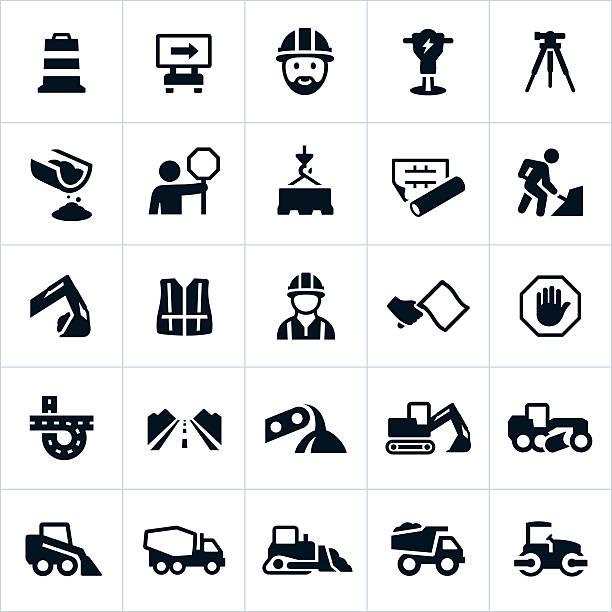 ilustraciones, imágenes clip art, dibujos animados e iconos de stock de iconos de construcción de carretera - obrero de la construcción