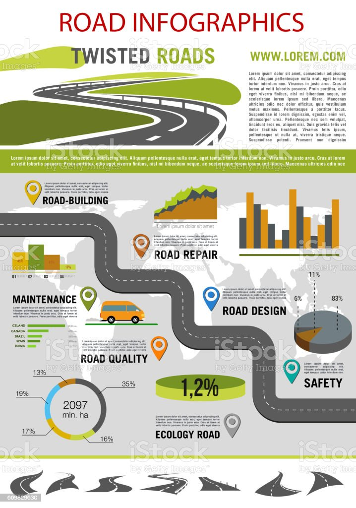 Road construction infographic template design vector art illustration