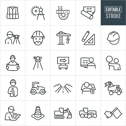 Road Construction Line Icons - Editable Stroke