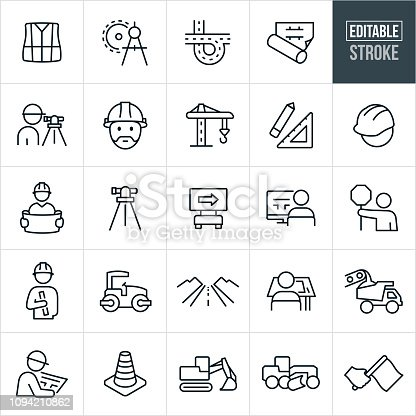 A set of construction icons that include editable strokes or outlines using the EPS vector file. The icons include construction workers, engineers, safety vest, drawing compass, road, highway, freeway, blueprint, land surveyor, hard hat, construction tools, construction equipment, dump truck, construction cone, excavator and road sign to name a few.