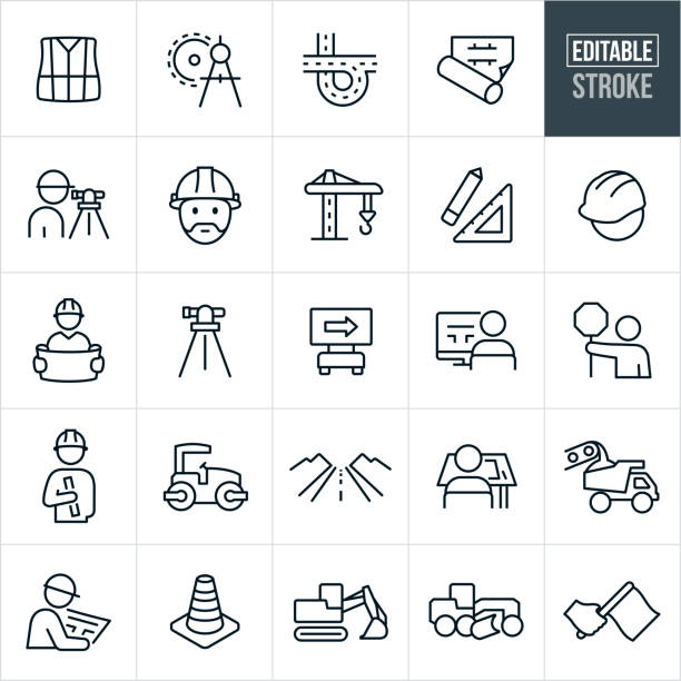 illustrations, cliparts, dessins animés et icônes de road construction ligne icons - stroke modifiable - travaux