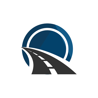 road construction logo road maintenance creative sign concept. Paving design template vector icon idea with highway. Transportation and traffic theme.