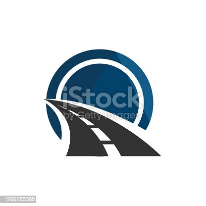 istock road construction logo road maintenance creative sign concept. Paving design template vector icon idea with highway. Transportation and traffic theme. 1269785368