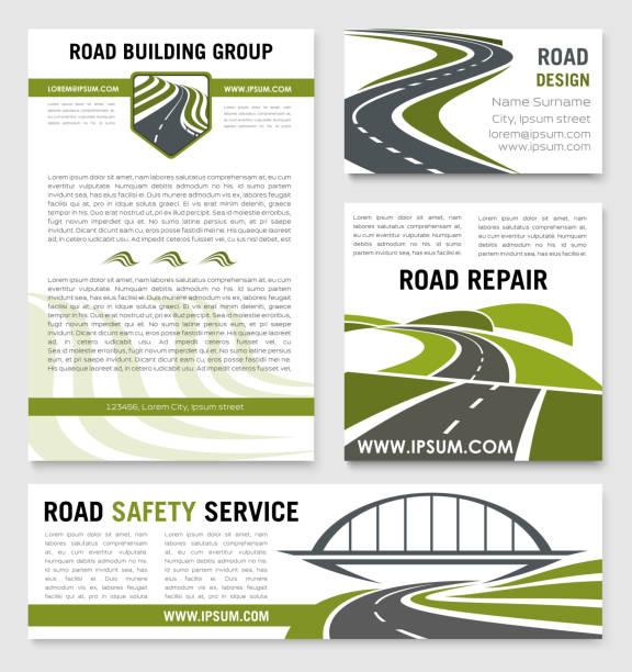 ilustraciones, imágenes clip art, dibujos animados e iconos de stock de plantillas vectoriales de carretera construcción reparación servicio - señalización vial