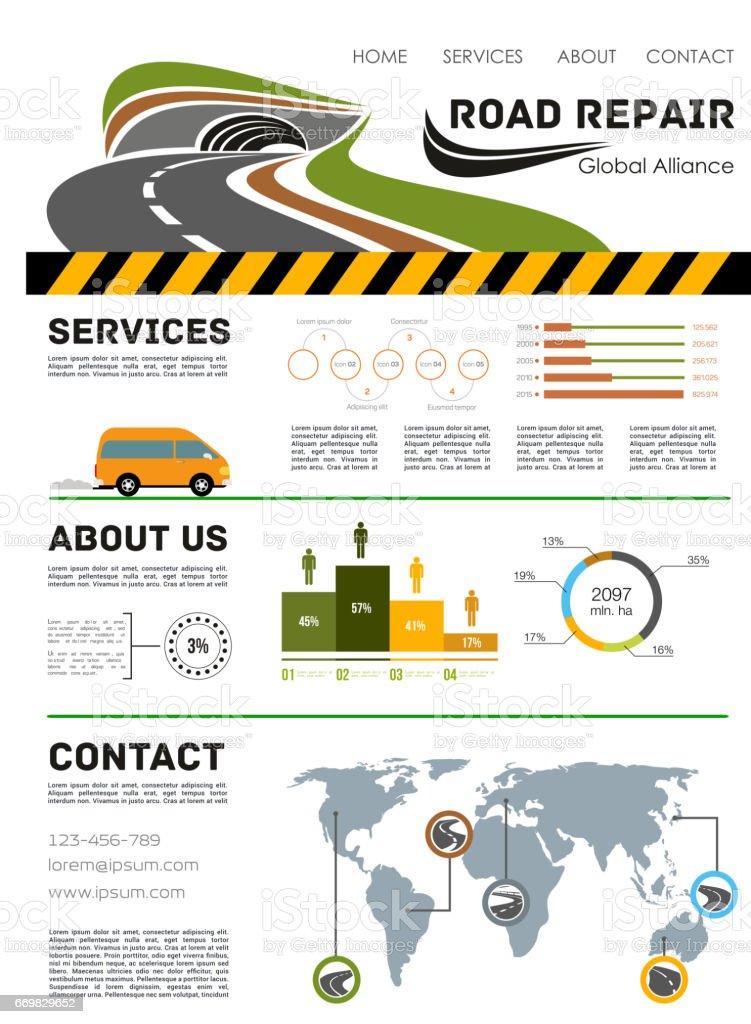 Road construction service vector landing page vector art illustration